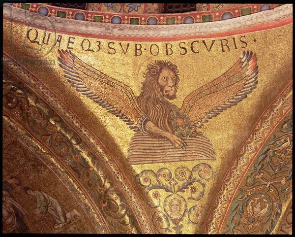 The lion symbol of St. Mark, from the pendentive of the choir dome (mosaic) (detail)