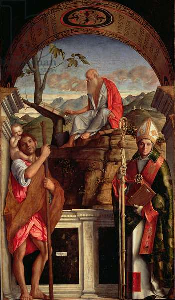St. Jerome, St. Christopher and St. Augustine, 1513 (oil on canvas)
