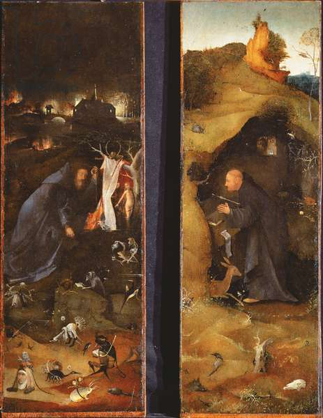 Triptych of the Hermits (oil on panel)