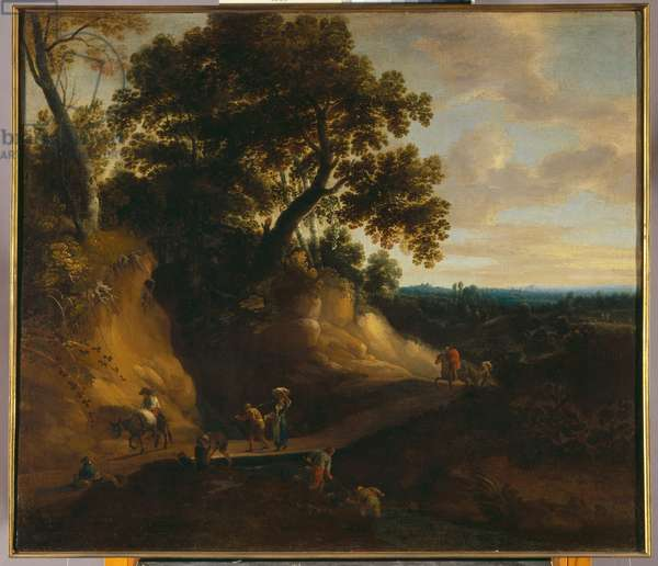 Landscape with a country road and travellers (oil on canvas)