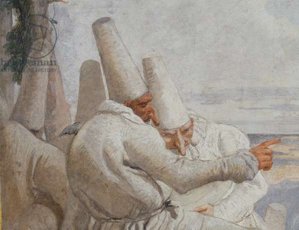 The departure of Pulcinella, detail of 3600542, c.1793-97 (fresco)