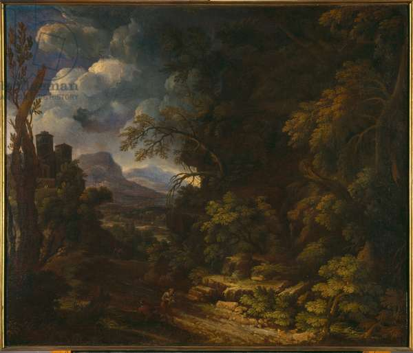 Landscape with wood (oil on canvas)