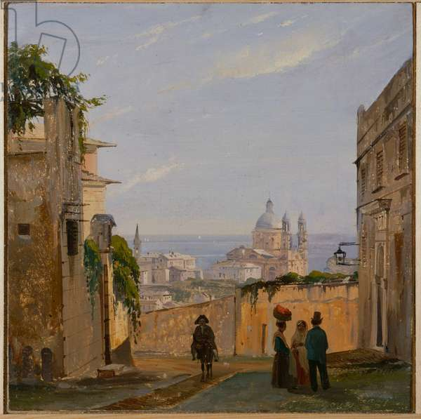 View of Santa Maria Assunta di Carignano, Genoa, Italy, 1851 (oil on canvas board)