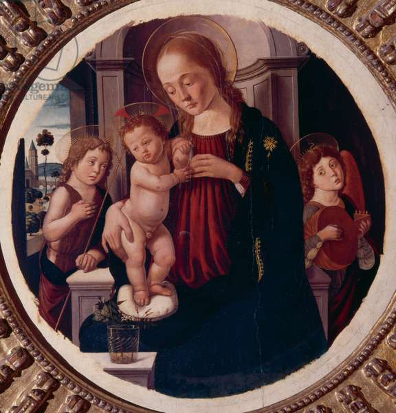Madonna with child, Saint John and angel musician