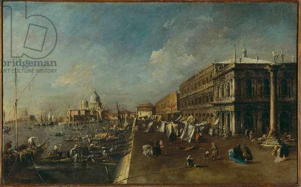 View of the Molo and the Punta della Salute (oil on canvas)