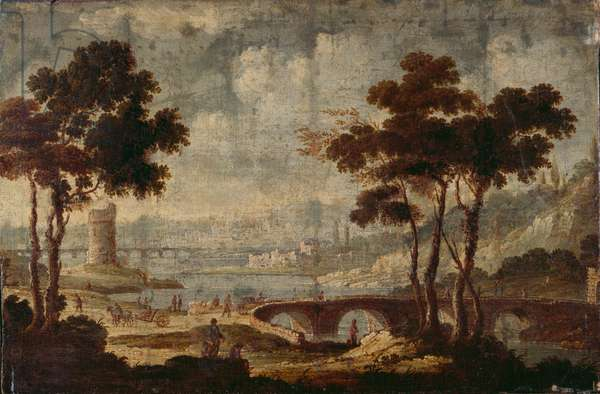 Landscape with ruins on the river Tevere