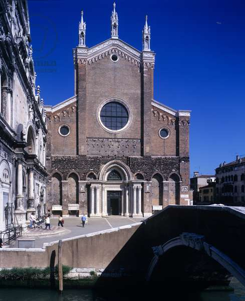 Main Facade of the Church and of the Field of Chiesa dei Santi Giovanni e Paolo, Venice, Italy (photo)