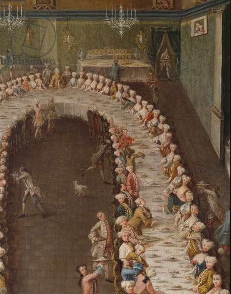 Banquet in honour of Clemens August Duke of Cologne at the Casino Nani on the Giudecca, 1755 (detail of 3600616)