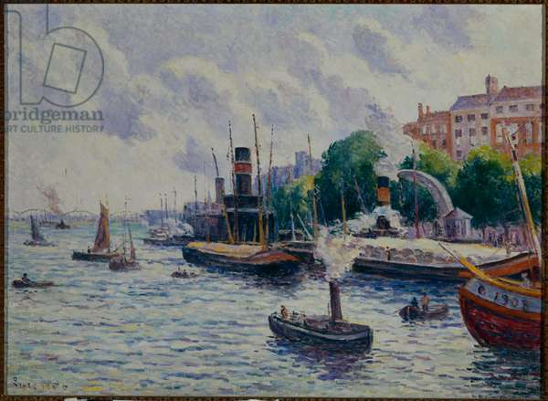 Port of Rotterdam, 1900 (oil on canvas)