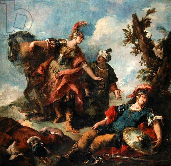 Herminia and Vaprinus Happen upon the Wounded Tancredi after his Duel with Argante, c.1750-55 (oil on canvas)