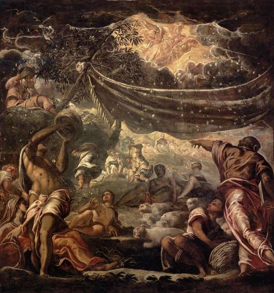 The Fall of Manna (ceiling painting) (oil on panel)