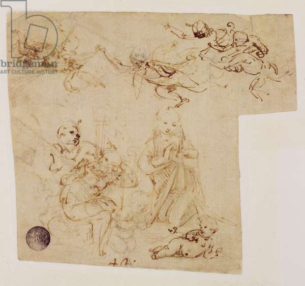 The Adoration of the Child by the Virgin Mary, with other figures and angels (sepia ink on linen paper)