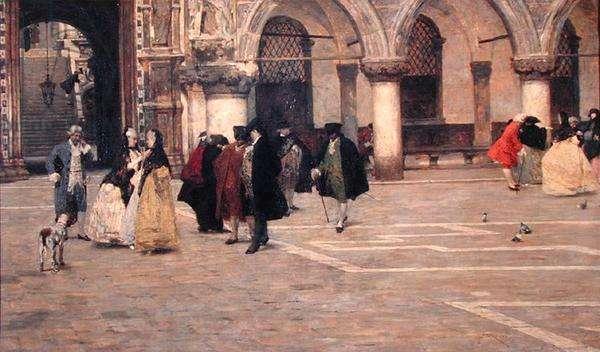 A Walk in the Piazzetta, Venice (oil on canvas)