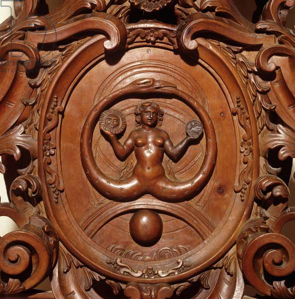 Detail from the pedestal for the statue of Prudence (wood) (see also 3600612)