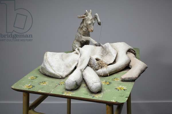 Mother, 2010 (wood, blanket, straw, clay, lino, steel, paint)