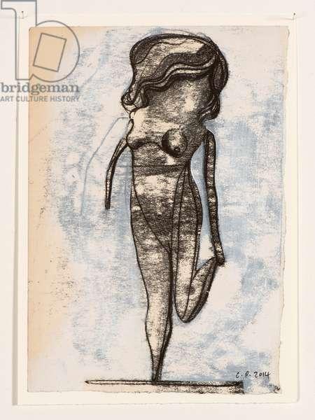 Doll On One Leg, 2014 (monoprint and acrylic paint)