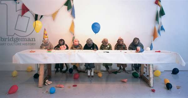 Singerie, 2004 (jesmonite, fur, wool, wood, party accessories)