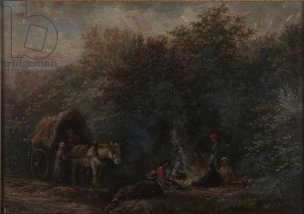 Gipsy Camp, Croham Hurst (oil on panel)