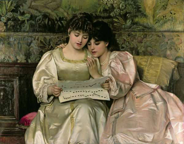 Two Girls Singing (oil on canvas)