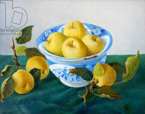 Apples in a Blue Bowl, 2014, (oil on canvas)