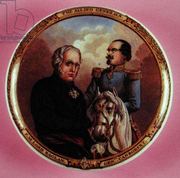 English pot lid, 'The Allied Generals', Field Marshall Lord Raglan and General Canrobert, heroes of the Crimean War (painted porcelain)