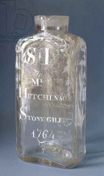 Caddy, inscribed 'to Mr Hutchinson of Stony Gill', 1764 (glass & enamel)