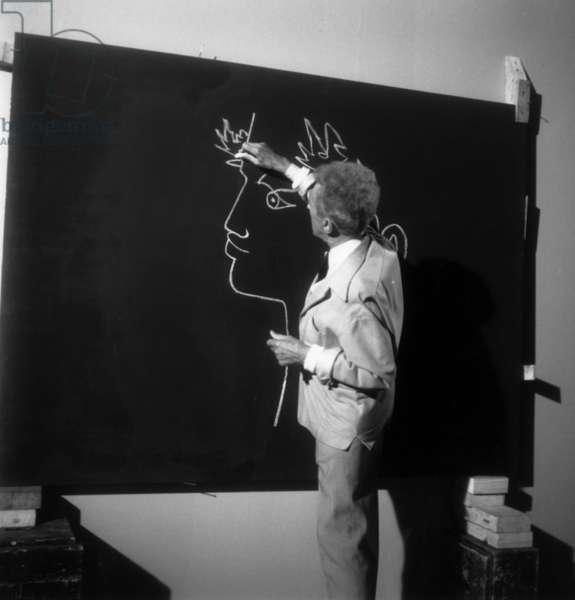 Jean Cocteau drawing (b/w photo)