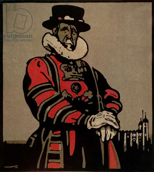 Beefeater from 'London Types' published by William Heinemann, 1898 (colour litho)