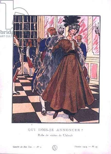 """What name may I announce?""; day dress designed by Cheruit from 'La Gazette du Bon Ton', pub. February 1914 (engraving)"