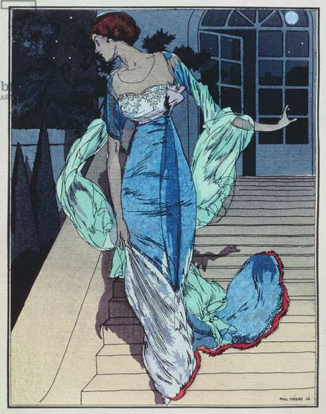 Plate 10 The Meeting in the Park; evening dress designed by Worth, engraved by Paul Meras from 'La Gazette du Bon Ton', pub. 1914 (engraving)