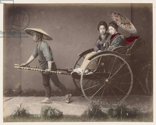 Jinrikisha, pushes, light two-wheeled car for two travelers pulled by a man - Jinrikishia - Japan 1880-1910 - Hand coloured photo