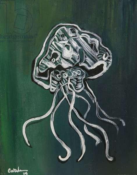 Jellyfish (on Green), 2014, (acrylic on canvas)
