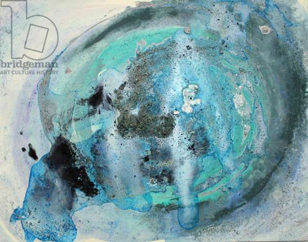porpoise, 2007, (sea ice from the Antarctica's Ross Sea, sediment from Antarctica's Dry Valleys and mixed media on paper)