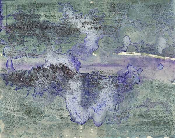 Antarctic Ice Painting: A4, 2008 (Antarctic ice, acrylic, and mixed media on paper)