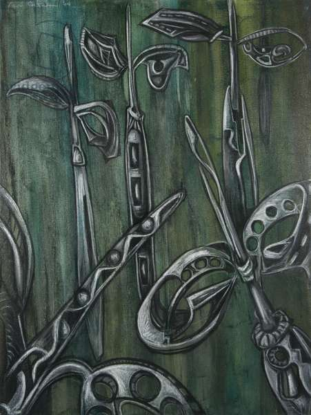 Mangrove Seedlings 2, 2004 (mixed media on canvas)