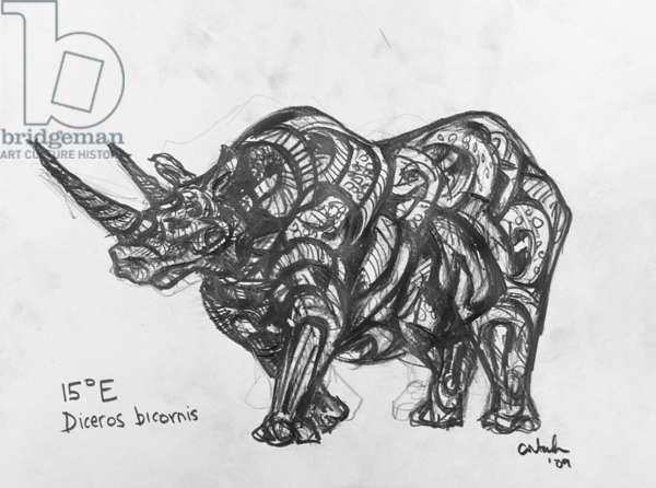 15E Black Rhino, 2009, (graphite on paper)