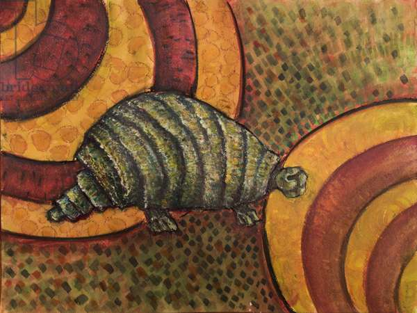 Glyptodon (Pliocene), 2017 (mixed media on paper)