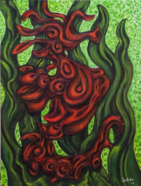 Seahorse Society: East, 2014, (acrylic on canvas)