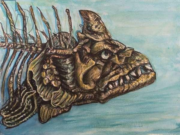 Xiphactinus (Late Cretaceous) 2017 (mixed media on paper)