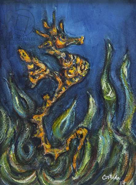 Seahorse 2, 2014, (acrylic on paper)