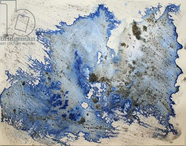 amundsen, 2007, (sea ice from the Antarctica's Ross Sea, sediment from Antarctica's Dry Valleys and mixed media on paper)
