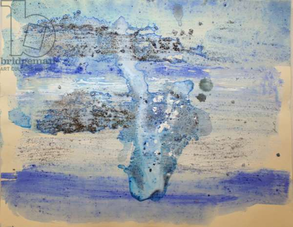 vincennes, 2007, (sea ice from the Antarctica's Ross Sea, sediment from Antarctica's Dry Valleys and mixed media on paper)