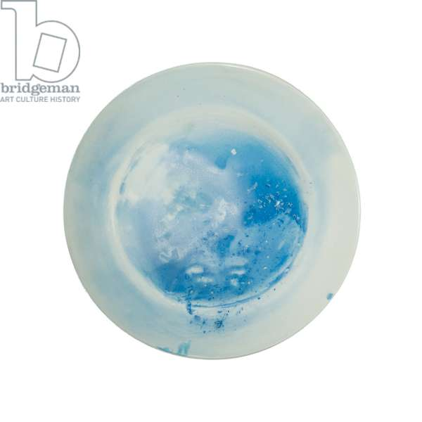 Ice Plate, North Pole Dinner Party (Miami): 90N Plate 28, 2008 (Sea Ice from the Geographic North Pole, pigment and glaze on ceramic plate)