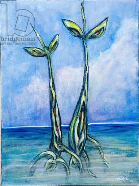 Two Seedlings, 2006, (acrylic on canvas)