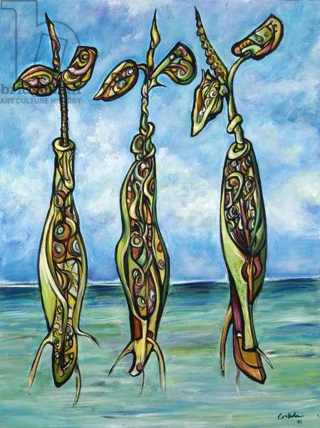 Three Seedlings at Sea 1, 2005 (acrylic on canvas)
