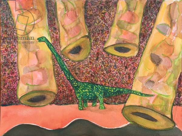 Omeisaurus (Middle Jurassic), 2017 (mixed media on paper)