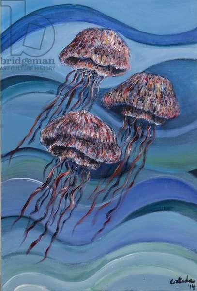 Three Jellyfish, 2014, (acrylic on canvas)
