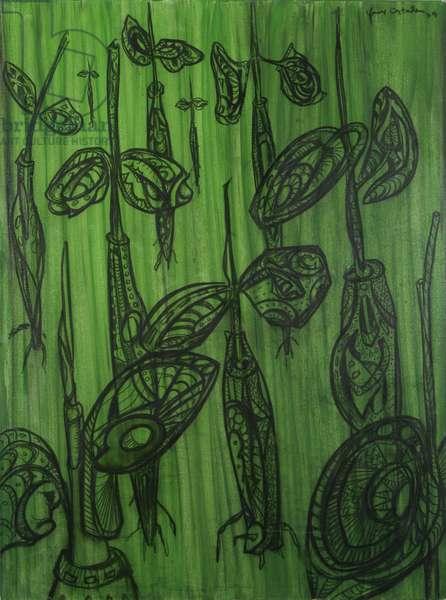 Mangrove Seedlings 1, 2004 (mixed media on canvas)