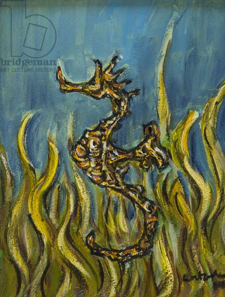 Seahorse 3, 2014, (acrylic on paper)