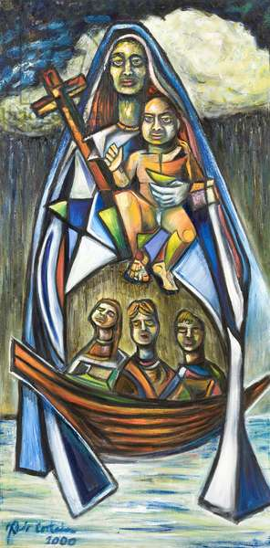 Estampita de La Virgen de la Caridad del Cobre, 2000 (oil on canvas)